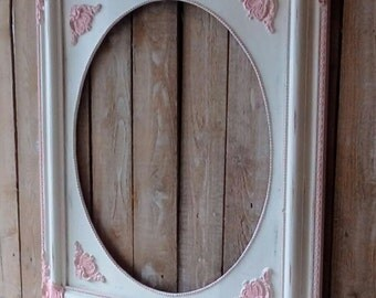 Pink and White Vintage Frame, Large Painted Open Frame with letter, Princess Nursery Frame, Shabby Cottage, French Provincial, Wall decor