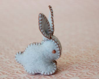 Pastel LIGHT BLUE Felted BUNNY Rabbit Toy -- Handmade pure wool felt -- Easter Baby Shower
