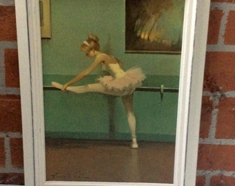 Vintage Ballerina Lithograph Framed Print / Juan Giralt Lerin Art