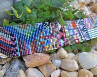 SALE Multi color abstract wide beaded leather bracelet - Everest - colorful fringe tassel friendship bracelet boho by slashKnots