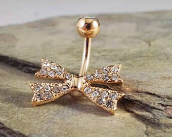 Rose Gold Belly Button Rings Crystal Bow Rose Gold Belly Button Jewelry