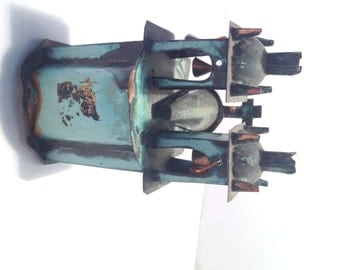 Vintage Peru Folk Art Baroque verdigris church, Peruvian smelted copper church Oxfam  - At Everything Vintage shipping is on us!