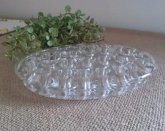 Clear Glass Oval Candle Holder Flower Frog, Vintage Flower Frog, Floral Arranging, Re-Purpose for Crafts
