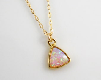 Opal necklace on 14k gold filled chain, opal charm, tiny opal necklace, white opal, blue opal