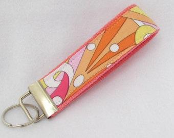 Keyfob wristlet / key chain  /pink coral retro design / key fob