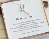 Antler Necklace on Sterling Silver Chain with Your Choice Of Birthstone...  Good Luck Sentiment Card