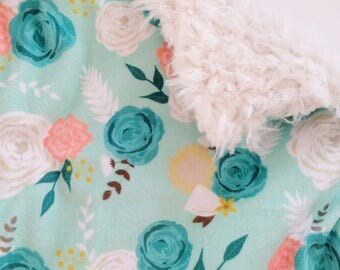 Baby Lovey Blanket, Security Blankie, Lovey Blanket, Summer Blooms, Floral, Mint