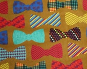 CLEARANCE SALE Bow Tie Print Flannel for Jo Ann Fabrics 100% Cotton Quilt Apparel Sewing Craft Multi Color Bow Ties on Golden Brown Mens Boy