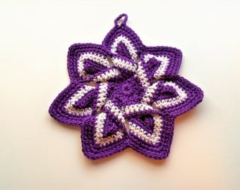 Star Flower Potholder - Purple and White - 100% Cotton, Ecofriendly, Re-usable, Reversible