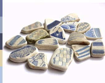Broken china pieces, patterned surf tumbled beach pottery mix, washed up in Scotland 0461