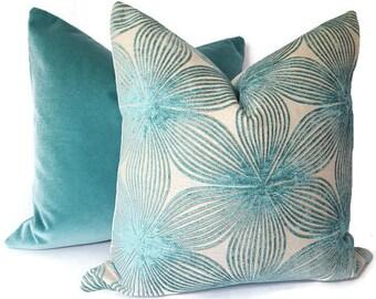 Velvet Pillow - Floral Velvet Pillow - Mod Pillow - Aqua Pillow Cover - Teal Velvet - Velvet Couch Pillow - Velvet Sham - PILLOW COVER ONLY
