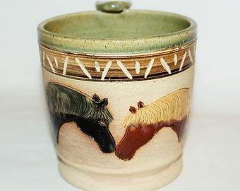 Handmade Ceramic Pottery Horse Mug