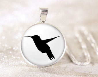 Silver Hummingbird Silhouette Necklace - Sterling Silver Bird Necklace, Genuine Silver Hummingbird Jewelry, Silver Bird Silhouette Jewelry