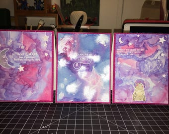 Mystical galaxy handmade watercolor cards!