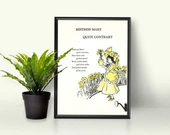 Mary Mary Quite Contrary • How Does Your Garden Grow Print • Refreshing Spring Home Decor • Sunshine Yellow Wall Decor • Womens Garden Decor