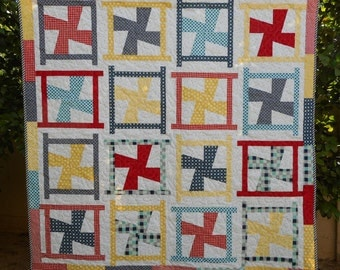 """Red, Yellow and Blue Pinwheel Quilt--Lap Size, 54"""" x 54"""""""