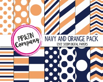 Navy and Orange Digital Paper Pack, Scrapbook Paper, Instant Download,  Polka Dots Stripes