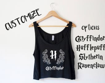 Customizable Hogwarts House Crop Tank - by So Effing Cute - Inspired by Harry Potter - Choose your House
