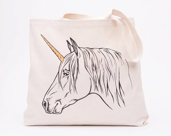 Unicorn Canvas Tote Bag - Screen Printed Cotton Grocery Bag - Large Canvas Shopper - Reusable Grocery Tote Bag