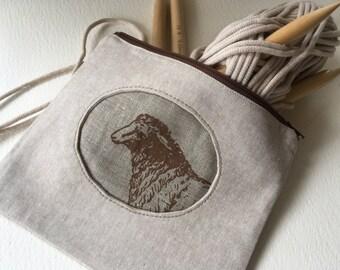 Tweed Knitting Needle Case, Tool Bag, Sheep Print