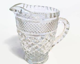 Cut Glass Vintage Pitcher, Glass Pitcher, Embossed Vintage Pitcher, Vintage Pitcher, Vintage, Vintage Serving