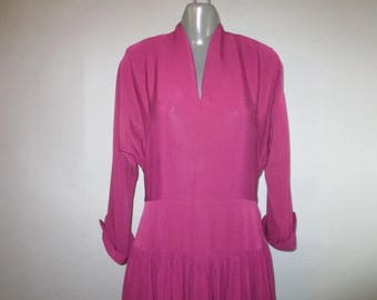 "Vintage 1940's Rayon Crepe Dress // Very Plain, Burgundy, Drop waist, Gathered Skirt, Raglan Sleeves, Cuffs // Metal Zipper...30 1/2"" waist"