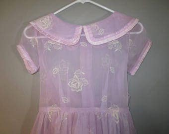 """Teen Girls Dress, Sheer Lavender // Button Back, Big Sash Tie at Waist //  Sheer Fabric with Flocked Roses in White...26"""" waist"""