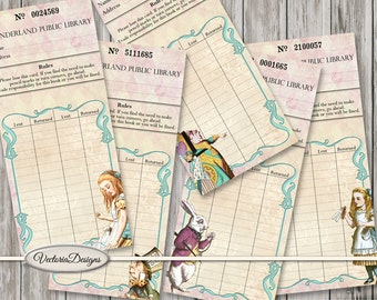 Alice in Wonderland Library Cards funny color paper crafting scrapbooking digital download instant download digital sheet - VDCAAL1533