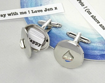 Personalised Message Yacht Cufflinks