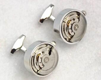 Modern Stainless Steel Watch Mechanism Cufflinks