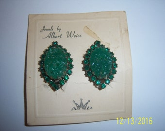 WEISS Glass Jade And Rhinestones Clip on Earrings - Designed Earrings - Green Jade Jadeite Earrings - 1950s Vintage Albert Weiss Clip on NWT