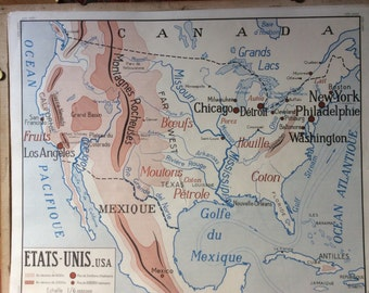 Large Stunning Vintage French School double-sided map of USA and Russia/ USSR