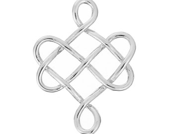 3 Silver Celtic Knot Charm Pendants, Infinity Knot Charms, Connector Links, 24x18mm, chs2715