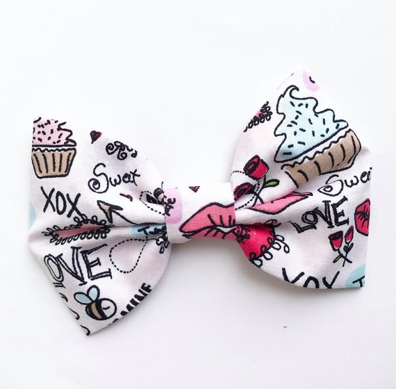 VALENTINES XL Bow Tie Headband or Clip Graffiti Love - XLarge Bow Tie Headband - girl, baby, toddler, woman, bow, jewel tones