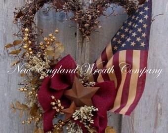 ON SALE Patriotic Wreath, Americana Wreath, Fourth of July Wreath, Primitive Patriotic, Military Heart Wreath, Memorial Day Wreath, Tea Stai