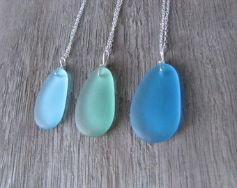 Sea glass necklace beach glass pendant blue mint turquoise glass jewelry silver chain