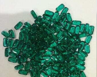 100 emerald glass stones 8x4