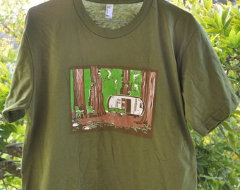 Redwood Forest T-shirt- a three color silkscreen tee based on one of my most beloved linocut images