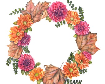 Autumn wreath watercolor painting print, Autumn wreath print, 5 by 7 size, W16516, autumn leaves print, fall wreath print, fall decor