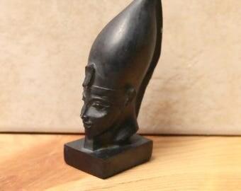 Vintage Egyptian Pharaoh Senusret III  Hand Carved Black Stone  Bust Statuette