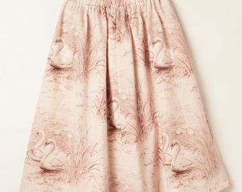 Connie Skirt Vintage Pink Swans
