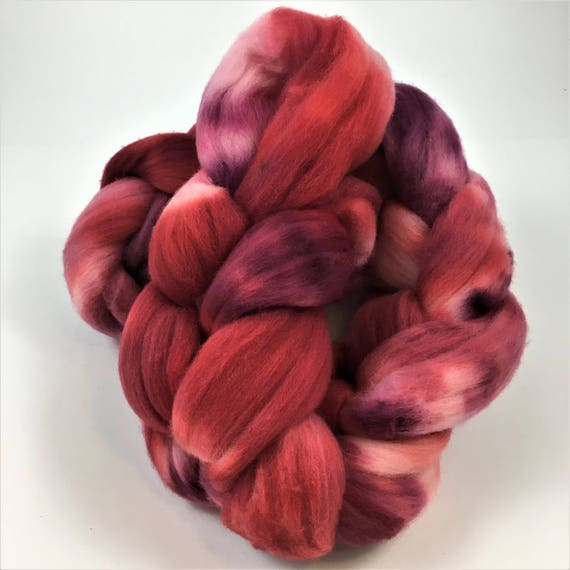 Merino Wool Roving, READY TO SHIP, 21.5 micron, 4 oz, Spinning fiber, combed top, Wool felting, Wool top, Soft wool roving, Berries