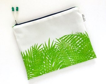 Tropical Leaves Wet Bag, Palm Frond Water Resistant Bikini Bag, Summer Love Zipper Pouch, Recycled Canvas Beach Bag, Handmade Gift for Her