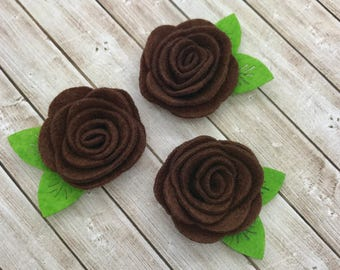 "2"" felt rosette with leaf, BROWN felt rose flower, small felt flowers, DIY headband supplies, petite fabric flowers wholesale fabric flowers"