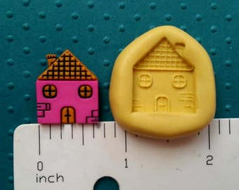 HOUSE MOLD SILICONE flexible food safe 4 fondant chocolate candy polymer clay cake pops oreo soap embeds real estate realtor welcome home