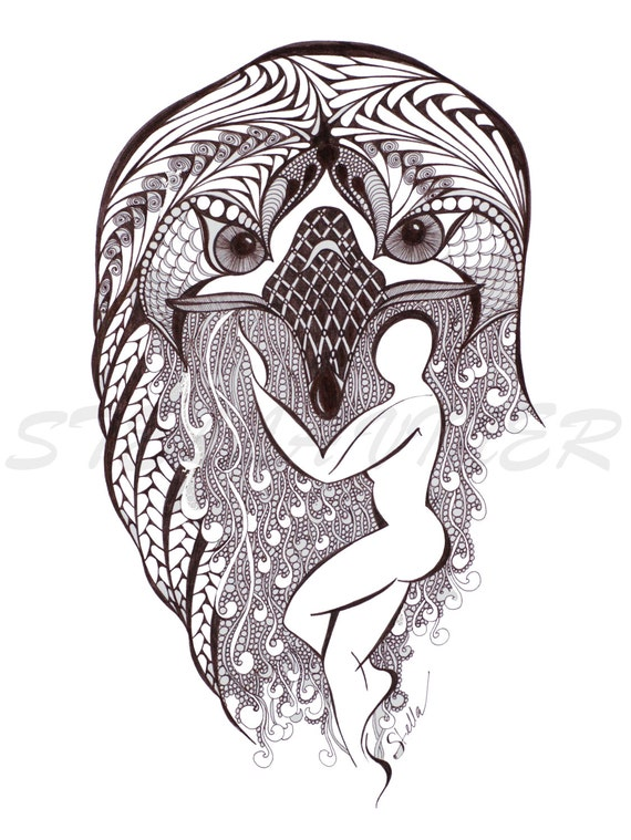 Yoga Art  Zentangle EAGLE Pose -   print from original design and drawing, yoga wall decor