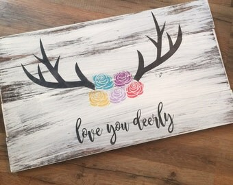I Love you deerly-sign-farmhouse-rustic sign-gallerywall-home decor