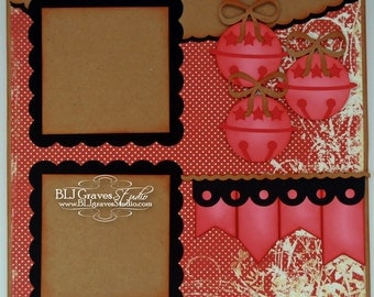 Premade Christmas Jingle Bells Scrapbook Page 12x12 Layout Paper Piecing Handmade 8