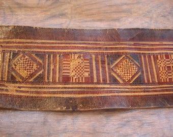 Niger Tuareg medium camel leather  hand etched rectangular  piece with design