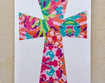 Lily Pulitzer Cross Decal,  Cross Decal, Monogram Decal, Lily Pulitzer Decal, Cross Sticker, Vinyl Decal, Car Decal, Yeti Decal